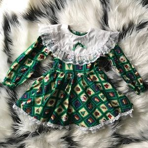 Christmas Toddler Girl Vintage Lace Dress size 4
